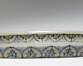 Handmade Wheel Thrown Ceramic Olive Boat with Green, Sky Blue and Navy Pattern