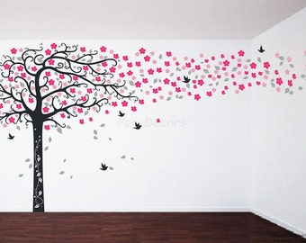 """Floral Tree Wall Decals Flowers Tree Stickers Girls Decals- Cherry Flowers Tree (94"""" H) -Living Room Wall Decor Designed by PopDecors pt0278"""