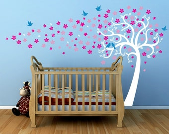 "Nursery Tree Decal Kids Tree Playroom Vinyl Sticker Nature Design- Floating Flowers Tree(138"" W) -Designed by Pop Decors PT-0279"