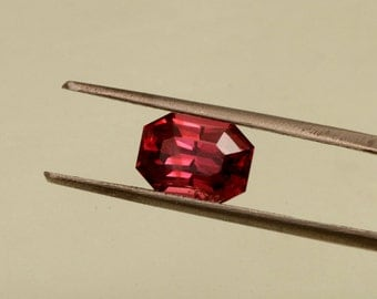 Raspberry Spinel Radiant Cut Emerald Shape for Engagement Ring