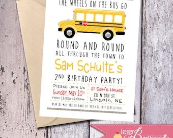 Wheels On The Bus - School Bus - Birthday Party - Invitation - 5x7