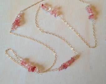R O S Y  JOURNEY - Long Gold Rosy Quartz and 14K Gold Fill Necklace by Mandy Lemig