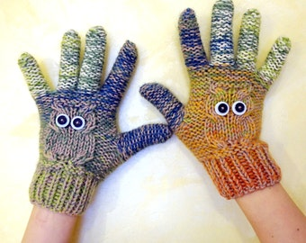 Handcrafted knitted 100% kashmir wool owl cabled gloves in light blue,orange, yellow, green and beige for ladies