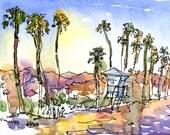 Santa Barbara Beach and Santa Ynez Mountains, California : print of a watercolor sketch