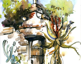 Adobe wall, Mission Santa Barbara, print of a watercolor sketch, fine art print