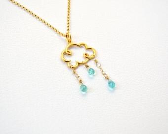 Gold Rain Cloud Necklace - Gold Vermeil Rain Cloud Charm, Aqua Apatite Raindrops, Cloud Necklace, Rain Drop Necklace, Blue Gemstone Necklace