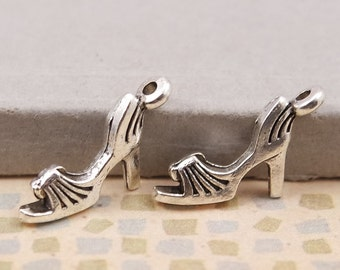 1 High Heel Sandal Shoe Charm, High Heels Charms, Sandal Charms,  DIY Charms, Silver Charms, Jewelry Supplies, Beading Supplies, Charms