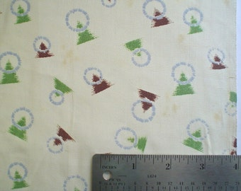 Vintage Fabric with Art Deco Triangles Print 1940s Japanese Rayon or Silk Yardage