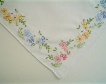 Lovely Hankie with Delicate Shadow-work Flowers Hand Embroidered Vintage Handkerchief