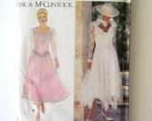 1990s Jessica McClintock Wedding Dress Pattern Simplicity 8902 Womens Evening Dress Basque Waist Deep V Back Size 12-16 Bust 34-38 UNCUT