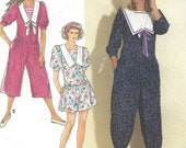 90s Womens Romper Dress in 3 Lengths Sailor Collar Simplicity Sewing Pattern 7272 Size 6 8 10 12 14 16 18 20 22 24 Bust 30 1/2 to 46 UnCut
