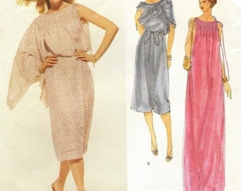 70s Bill Blass Womens Cocktail Dress or Evening Gown & Shawl Boho Grecian Vogue Sewing Pattern 1879 Size 12 Bust 34 Vogue American Designer