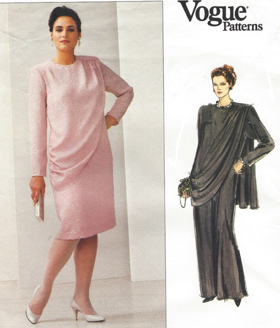 Draped Gown Pattern: 80s Plus Size Womans Draped Dress In Two Lengths Cocktail Or