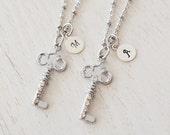 best friend necklace, personalized silver key jewelry, graduation gift, silver key necklace, initial necklace, silver necklace, bridesmaid