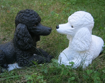 Poodle Statue, Black Poodle, White Poodle, Cement Garden Decor, Dog Statues, Poodle Dog Figures, Concrete Dog, Pet Memorial Headstone Marker
