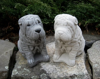 Shar-Pei Dog Statue,  Concrete Dog Statues, Pet Memorial Head Stones, Pet Dog Figures. Shar Pei Figures, Cement Dogs, Garden Decor