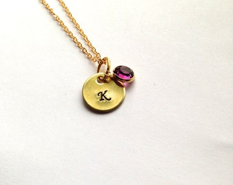 Gold Initial Necklace Charm and Swarovski Birthstone- Hand Stamped Brass Charm - You Choose Font