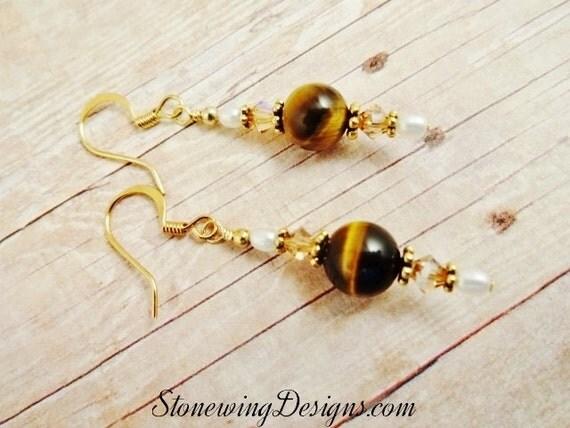 Tigers Eye, Pearl and Swarovski Crystal Earrings