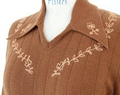 70s Western Shirt, Tobacco Brown Knit Sweater Campus Casual Embroidered Yoke Shirt, Unisex Cowboy Sienna Burnt Umber Ribbed Hipster Pullover
