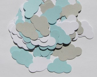 100 pcs.  Clouds- Blue, White and Gray,  Confetti, Scrapbooking, Embellishments