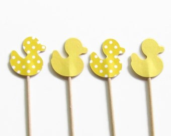 24 Yellow and Yellow Polka Dot Baby Ducks, Cupcake Toppers, Party Picks, Food Picks