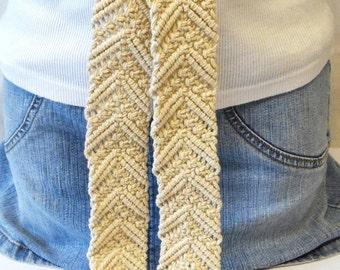 Vintage Ivory Macrame Fringe Belt Braided Belt