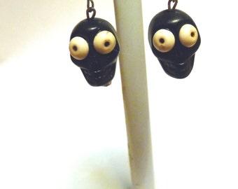 Zombie Sugar Skull Earrings Day Of The Dead Jewelry Black Skulls