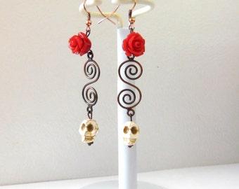 Sugar Skull Earrings Day Of The Dead Jewelry White Skull Red Rose Copper Swirls