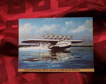 Airplane Postcard Flugschiff Dornier DO X Float Plane Transatlantic Floating Boat Germany 1930's Curtiss Motors