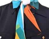 Women's Neck Tie Retro Colorblock Print Tie Lightweight Layering Fashion Accessories Hair Tie Sash Belt Neck Bow Retro Print Scarf