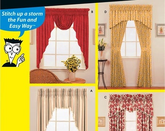 Simplicity Pattern 9869 Home Decor - Easy Window Treatments - Swags, Valances & Panels NEW