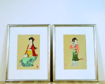 Vintage Chinese Painting Gongbi Style Famous Literature Characters Dream Of Red Chamber