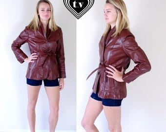 vtg 70s Burgundy BELTED fitted LEATHER JACKET boho Med/Large skinny cafe racer oxblood maroon motorcycle coat outerwear