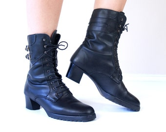 vtg 80s BLACK lace up BUCKLE BOOTS grunge 8.5 motorcycle leather brogues boho heels moto shoes rocker punk