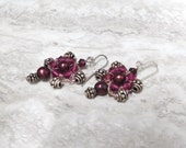Small Drop Dangle Earrings in Garnet Color- Bridesmaids Gift for Holiday Wedding or Stocking Stuffer