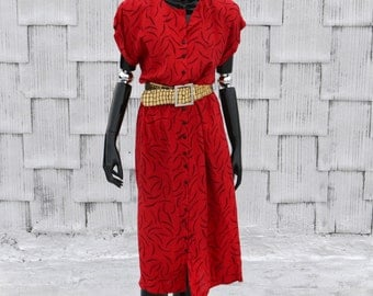 80's Red & Black Drapy Shirt Dress