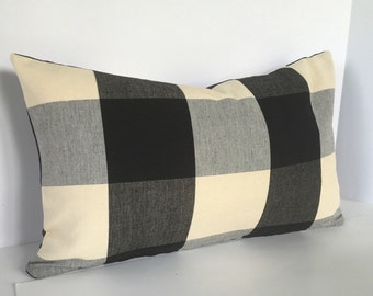Buffalo Plaid Decorative Pillow Cover in Black and Cream Designer Fabric