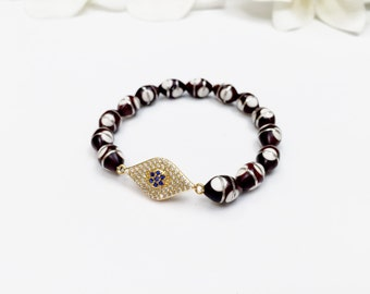 Egyptian Prayer Beads with CZ Evil Eye Connector Bracelets