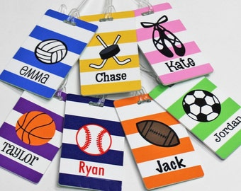 Personalized Sports Bag Tag - Custom Dance Bag Tag - Backpack Tag - Soccer Bag Tag -  Volleyball - Basketball - Tennis - Hockey - Lacrosse