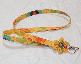 Lanyard - Badge Lanyard -  Fabric Lanyard - Key Lanyard - Badge Holder - Gold
