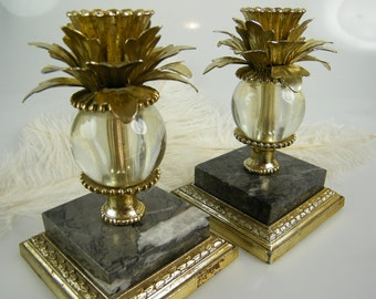Candlesticks / Marble metal and glass Candle Holders / Vintage Dilly / set of 2