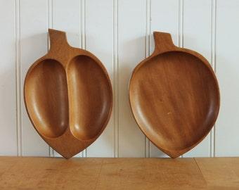 Mid Century Wood Leaf Trays Snack Bowls Japan