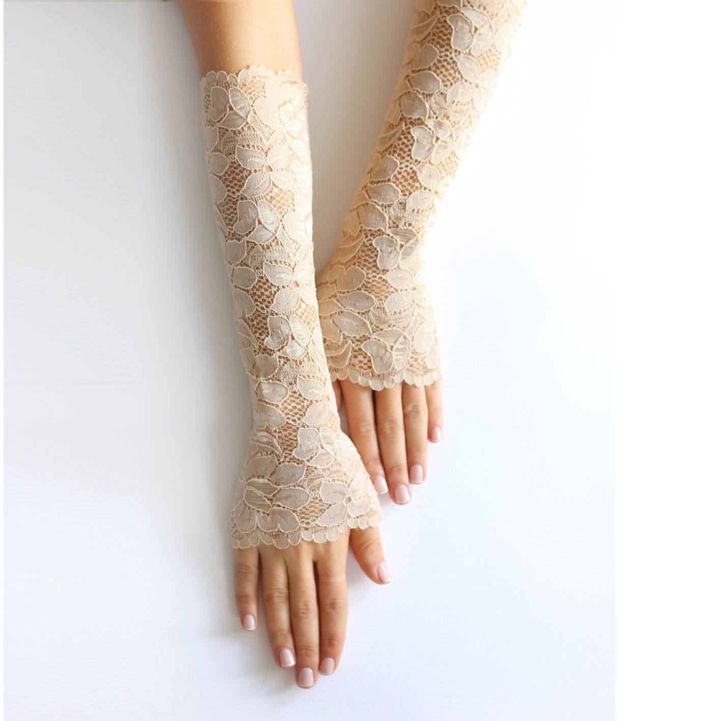 Tan lace wrist cuffs Nude bridal fingerless gloves Elastic