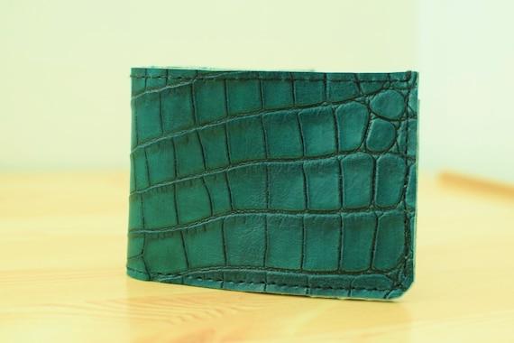Mens wallet,leather wallet,alligator wallet,alligator leather,green wallet,green alligator wallet,green alligator,cards holder,ooak