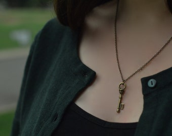 A Perfect Key Necklace - Antique Bronze Magical Small Key Pendant