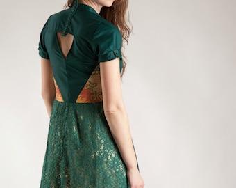 Dark green dress, lace dress, unique dress, ornament dress, handmade dress, one of a kind dress, recycled dress, reconstructed dress