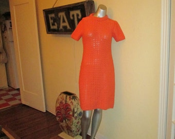 Vintage Orange Hand Loomed Sweater Dress / 60s Pallas Ireland Dress Never Worn