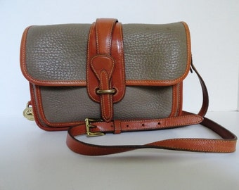 Vintage Dooney Bourke Taupe/Tan Leather Satchel Handbag/CrossbodyPurse