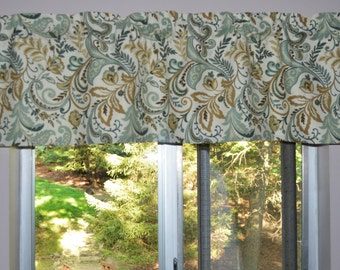 Kitchen Valance . Custom Curtains . Mill Creek Findlay Seaglass . Teal, Taupe - Ivory Background . by Seams Original