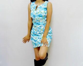 60s Mini Dress - Blue - 60s Dress - Retro